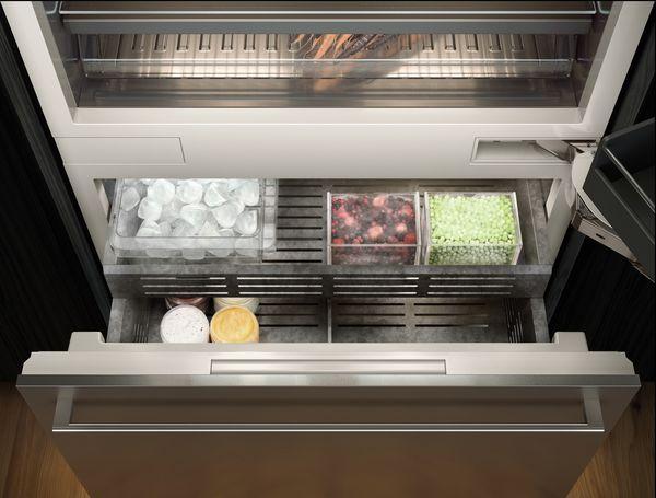 Vario Kühlgeräte-Serie400 voll ausziehbare Gefrierschublade und blendfreie warmwei�e LED-Beleuchtung